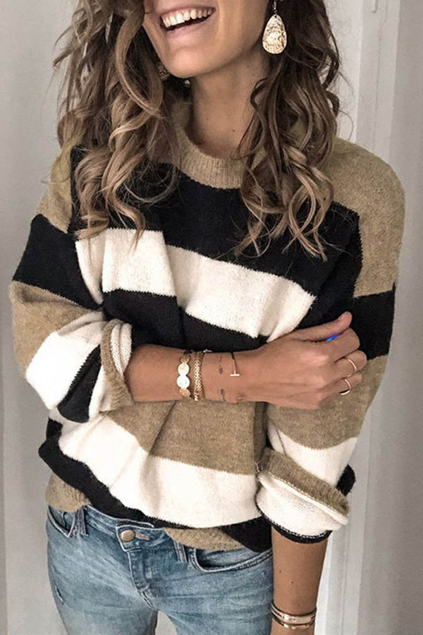 Striped Round Neck Contrast Sweater