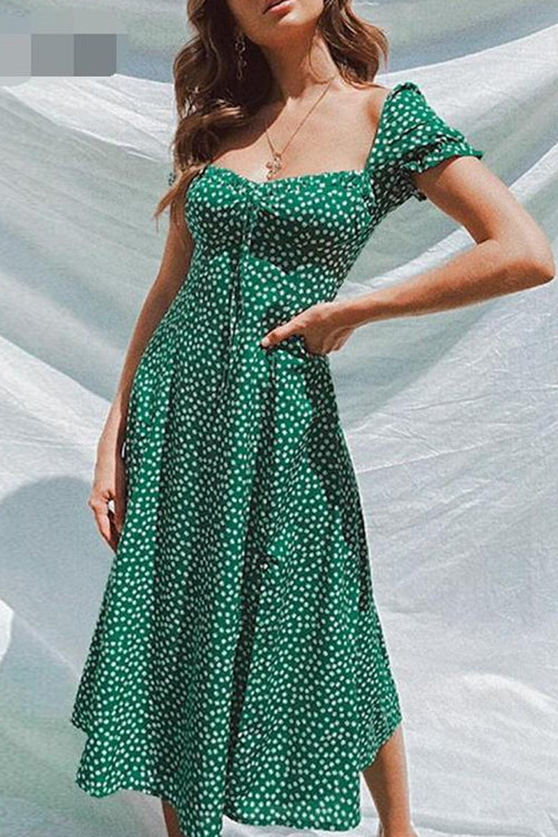 Polka Dot Square Collar Midi Dress