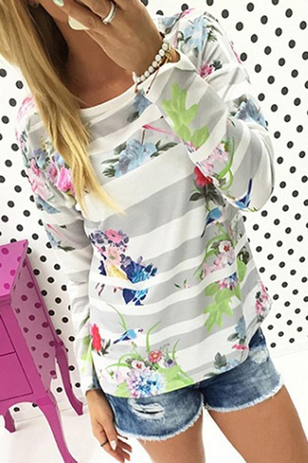 Stripe Flower Printed Long Sleeve Casual Top