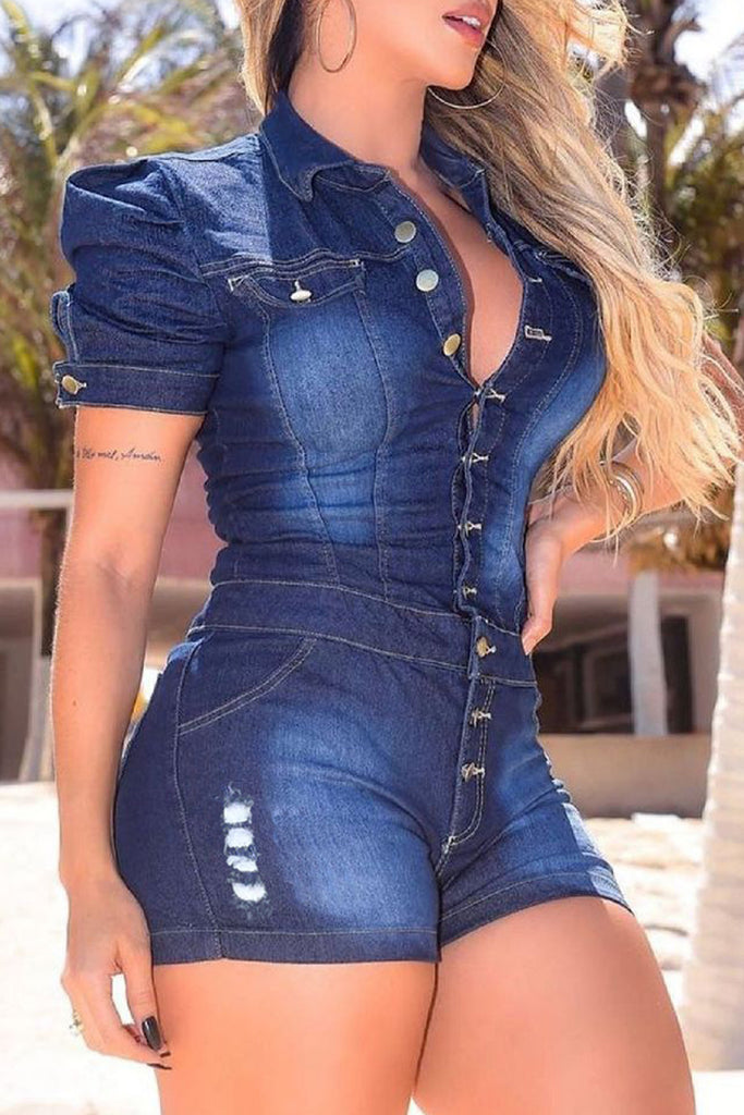 Denim Hole Button Up Lapel Romper