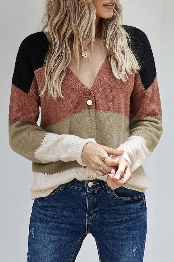 V-Neck Buttoned Closure Colorblock Sweater