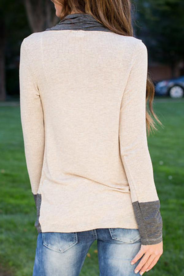 Mixed Color Bandage Long Sleeve Casual Top