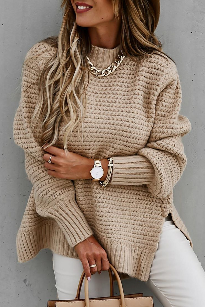 Round Neck Side Slit Casual Sweater