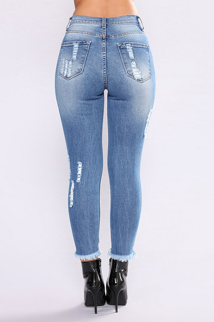 Hole Ripped Denim Pants