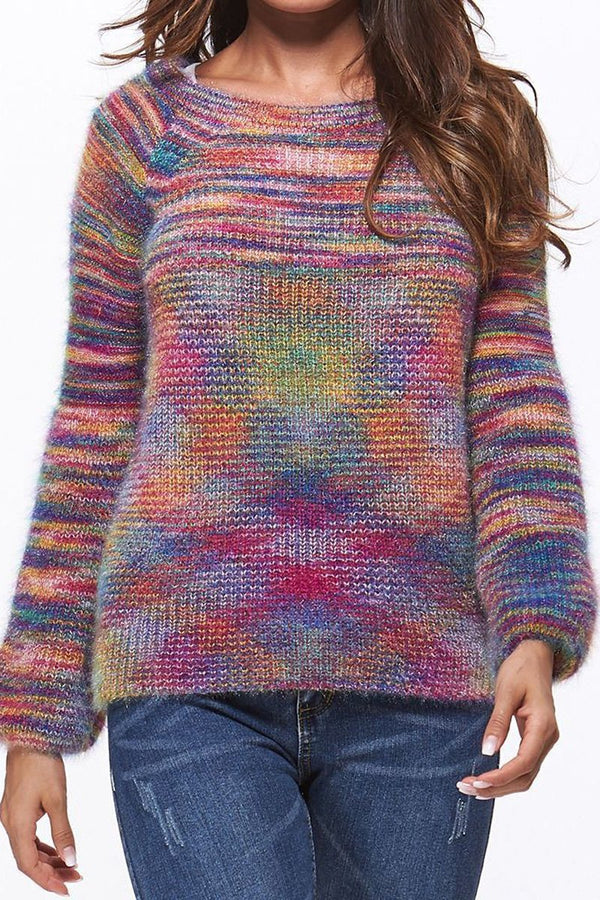 Multicolor Printed Casual Round Neck Sweater