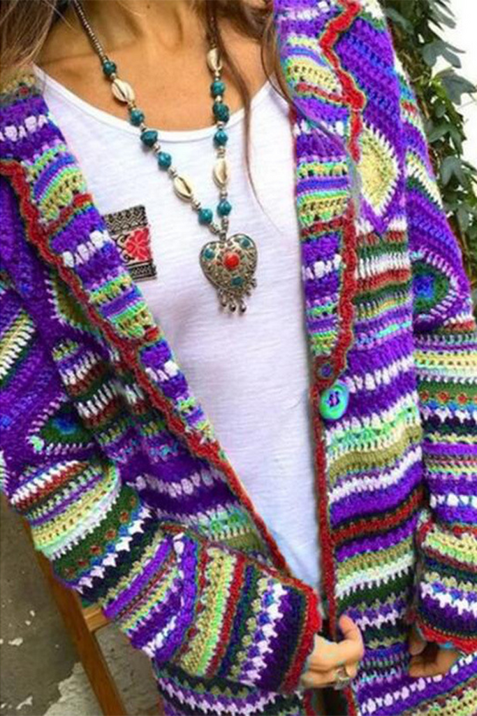 Multicolor Wave Stripe Cardigan