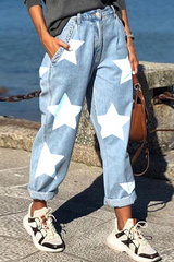 Star Print Distressed Plus Size Denim Pants