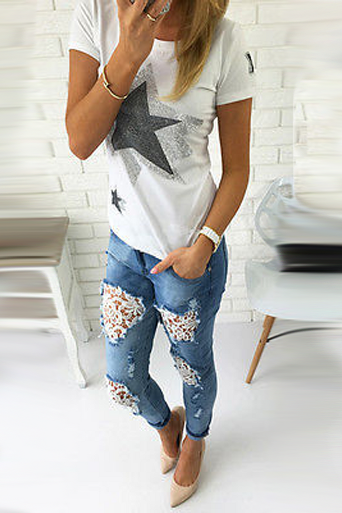 Denim Lace Patchwork Distressed Pants