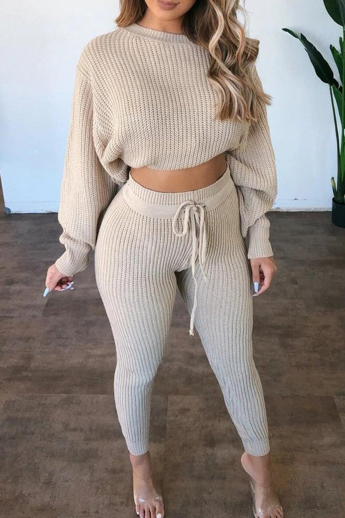 Drawstring Waist Knit Sweater & Pants