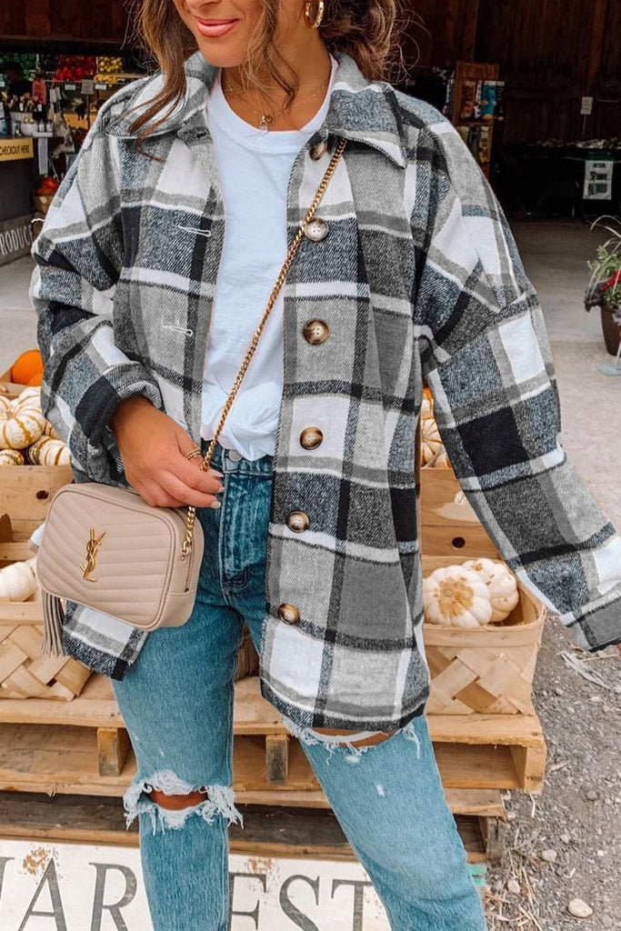 Long Sleeve Plaid Woolen Coat