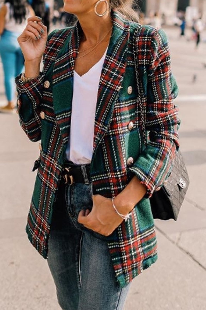 Hip-Length Plaid Lapel Double Breasted Coat