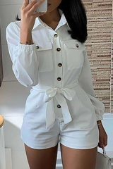 Button Belt Lapel Long Sleeve Romper