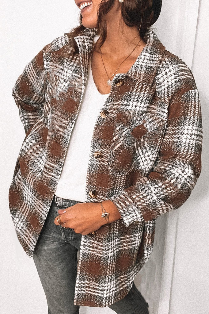 Plaid Long Sleeve Woolen Coat