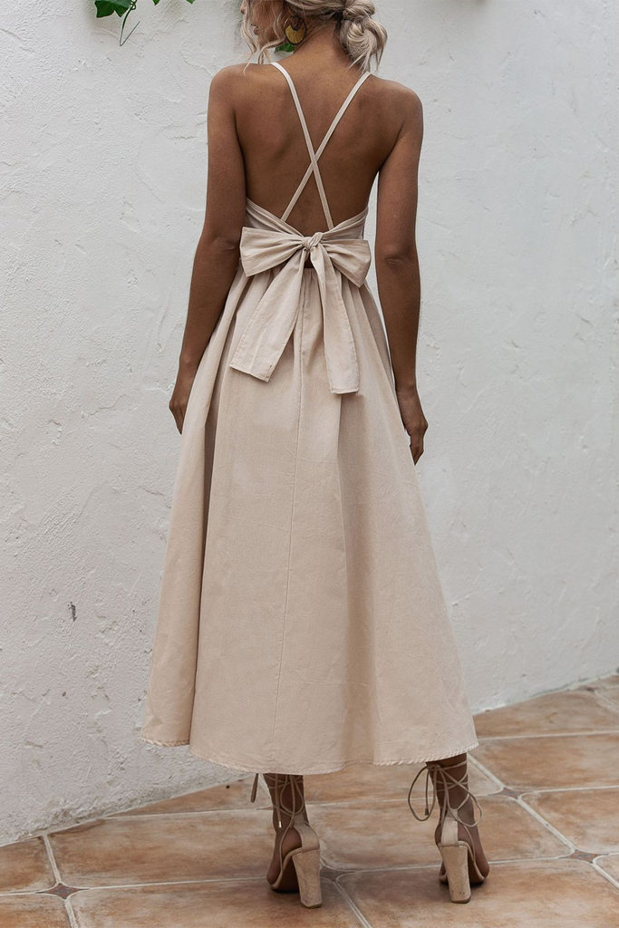 Solid Strapped Open Back Bowknot Dress