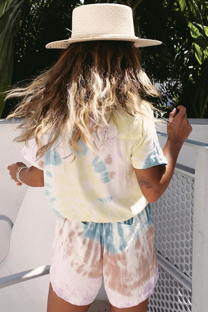 Tie Dye Button V-Neck Romper