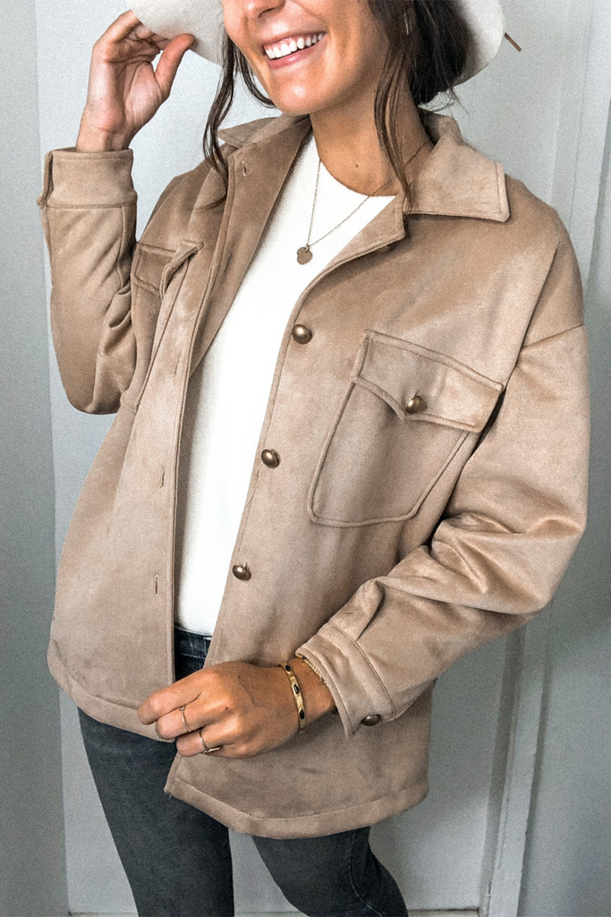 Solid Color Double Pockets Jacket