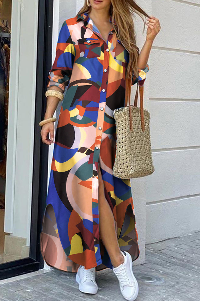 Geometric Printed Side Slit Shirt Dress