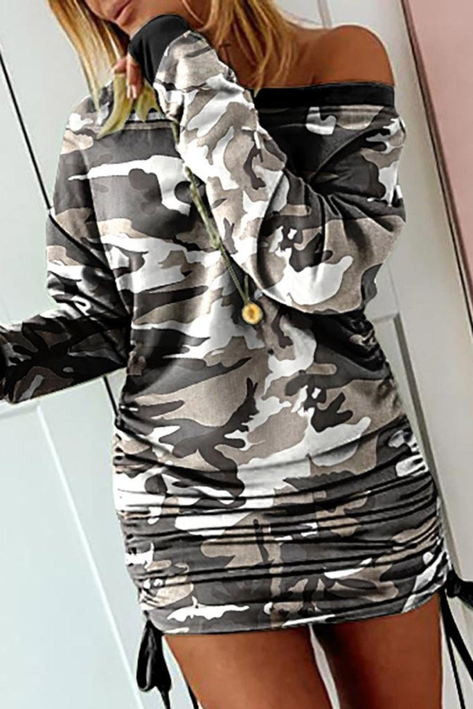 Camouflage Print Drawstring Mini Dress