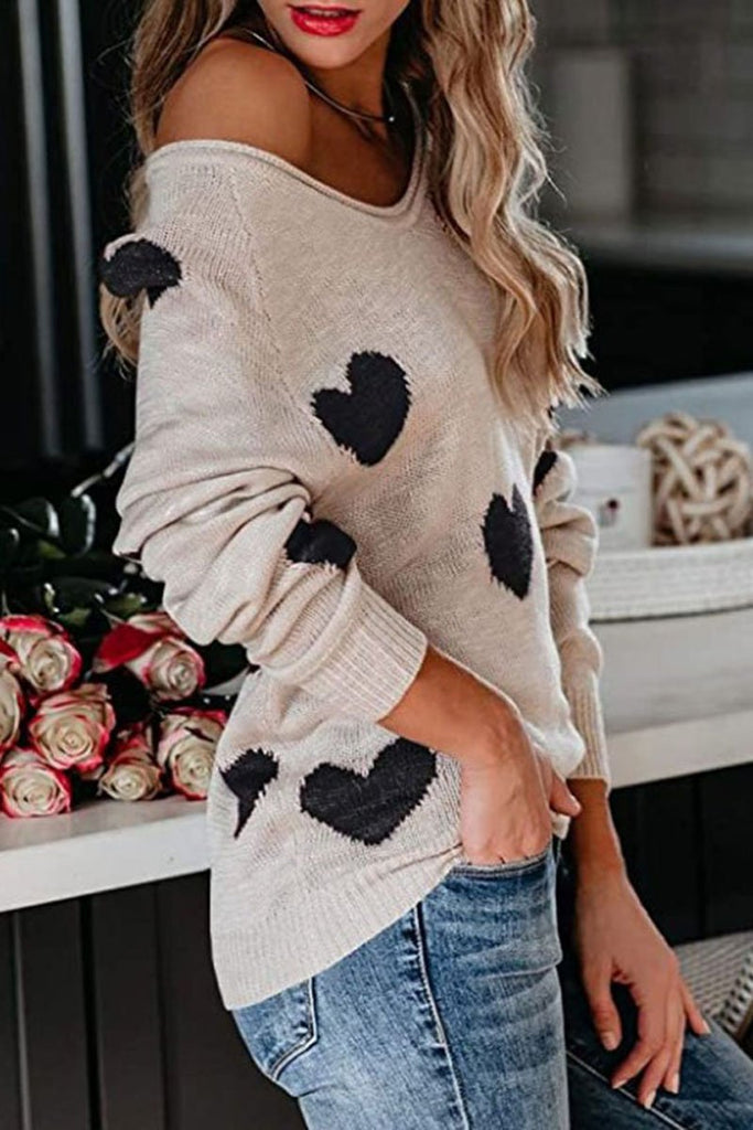 Heart Print V-Neck Knitted Sweater