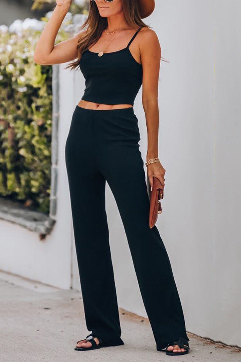 Solid Color High Waist Two Pieces Sets
