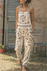 Print Pockets Straight Overall Jumpsuit