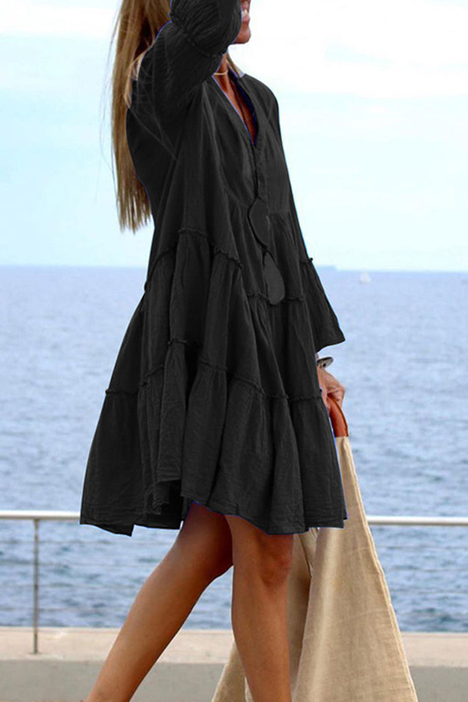 Solid Flare Sleeve V-Neck Pleat Dress
