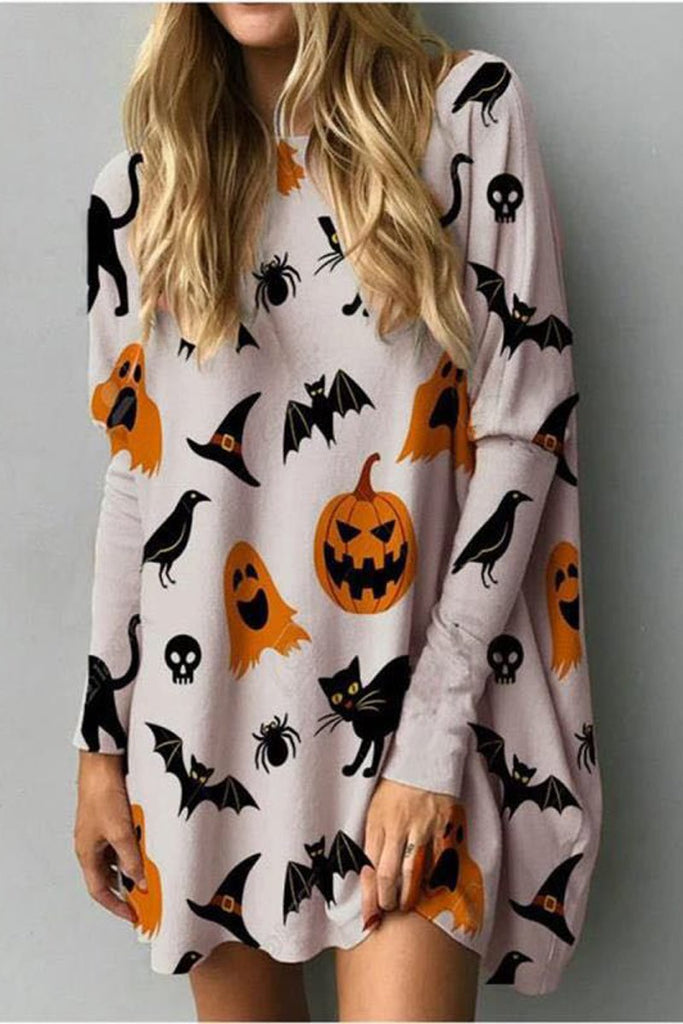 Halloween Pumpkin Print T-Shirt Dress