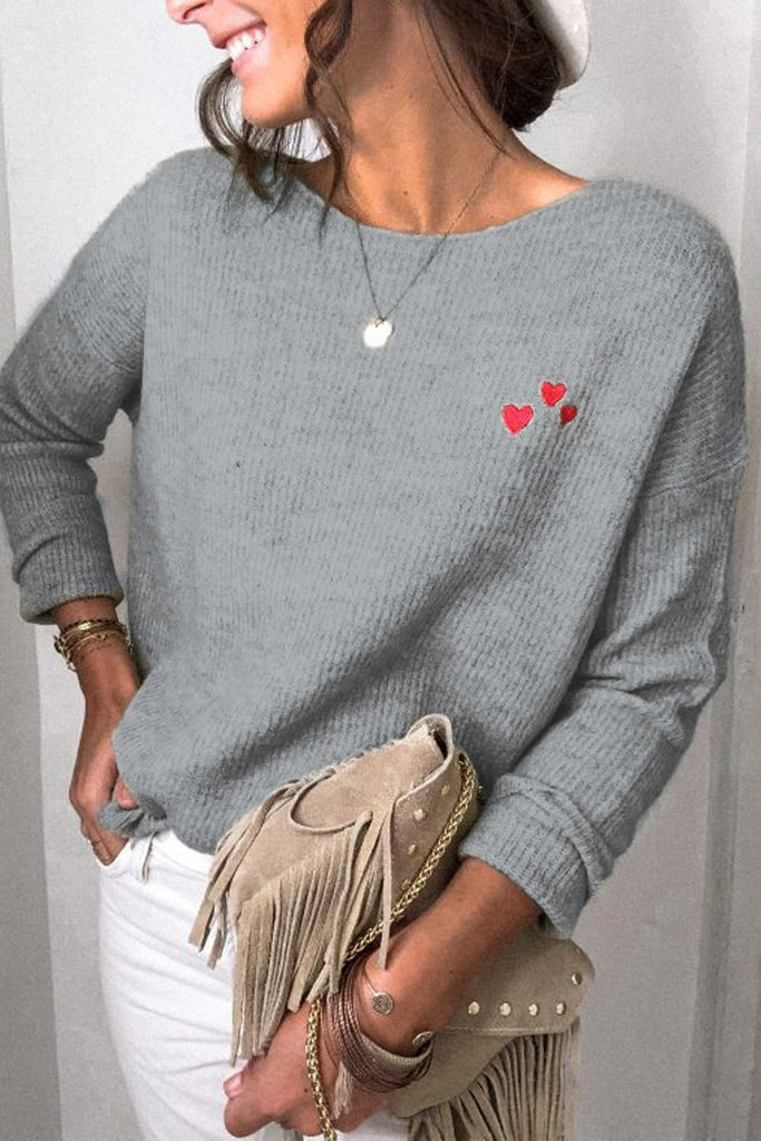 Heart-Shaped Printed Casual Sweater