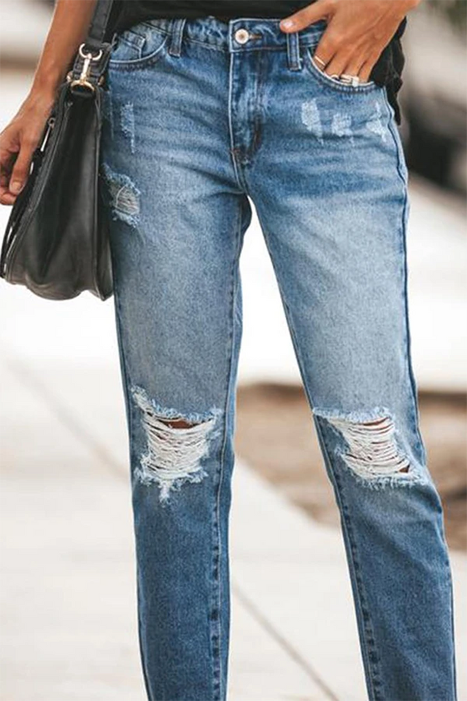 Distressed Plus Size Denim Pants