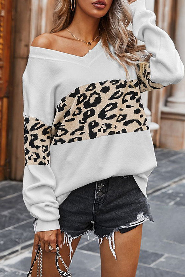 Leopard Print V-Neck Casual Sweater