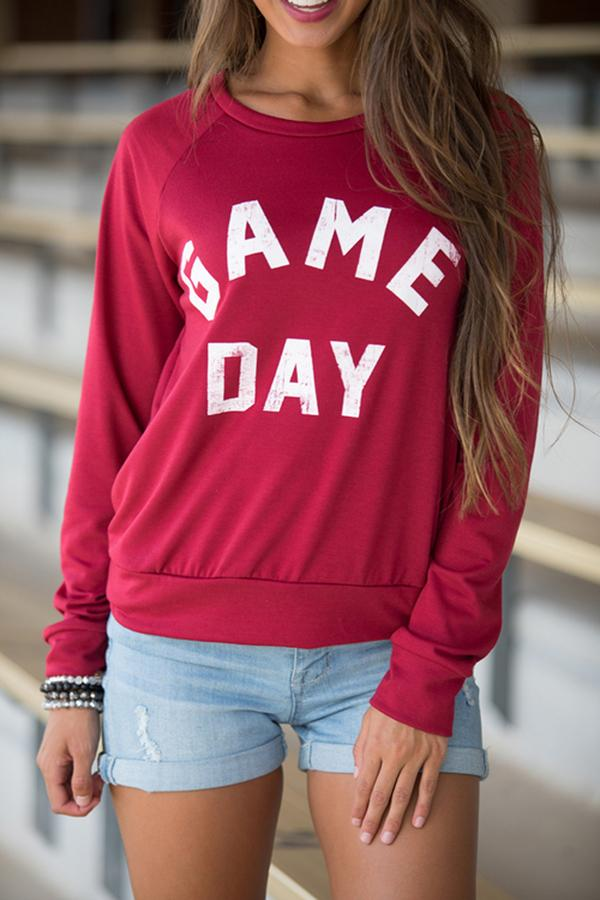 Letter Printed Sport Long Sleeve Casual Top