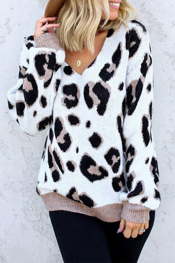 Leopard Print Casual V-Neck Sweater