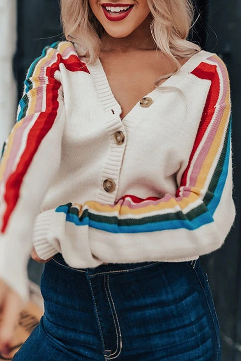 Rainbow Stripe V-Neck Cardigan Sweater