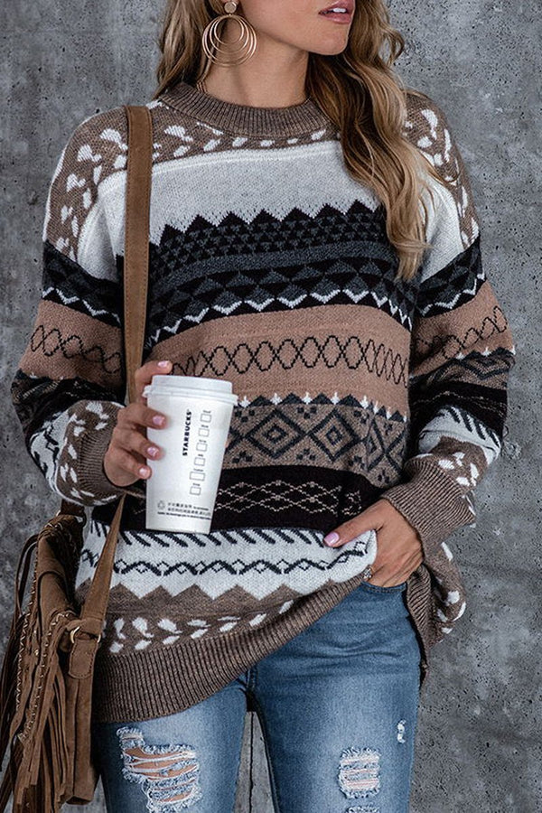 Striep Print Casual Round Neck Sweater