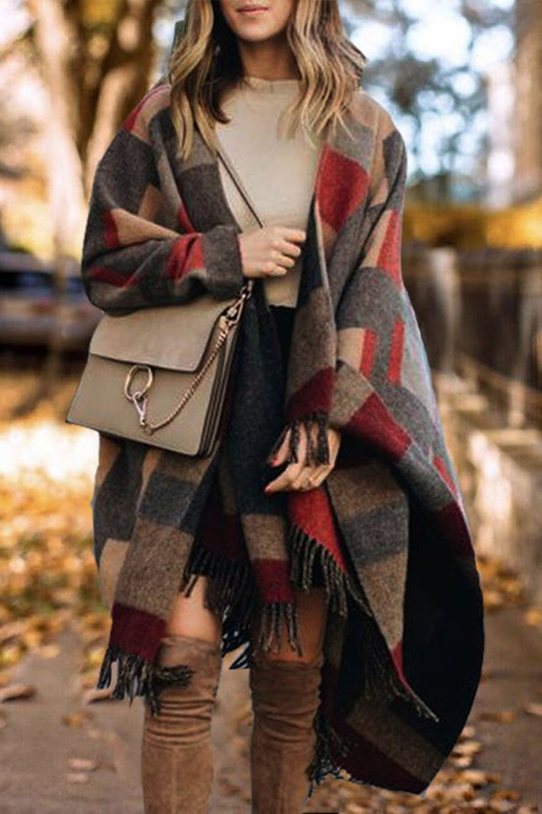 Tassels Plaid Tartan Knee-Length Shawl