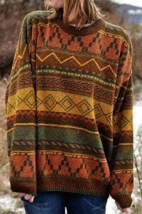 Vintage Round Neck Jacquard Sweater