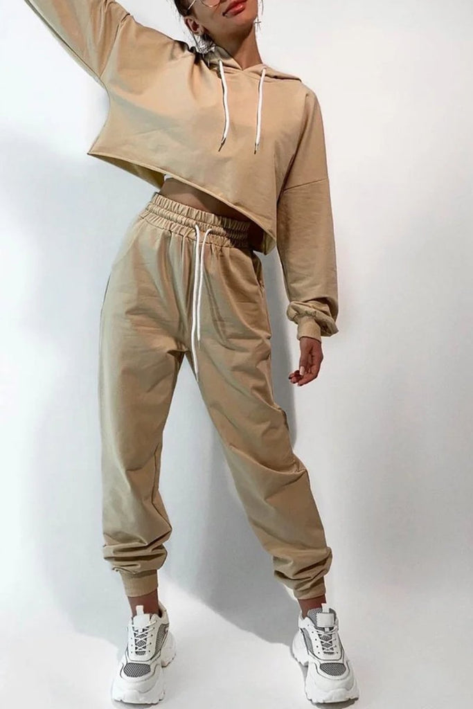 Solid Color Casual Hoodie & Pants