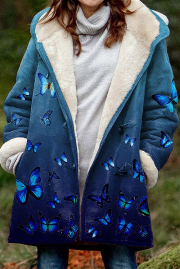 Butterfly Print Cotton Padded Coat
