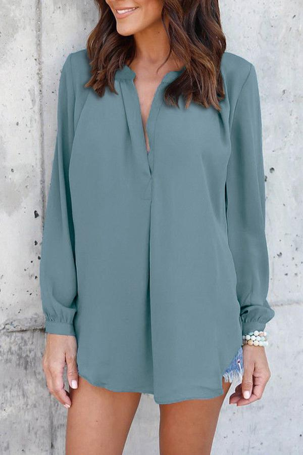 Chiffon V-neck Solid Color Casual Top