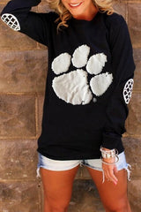 Printed Long Sleeve Solid Color Top