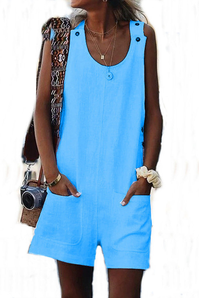 Solid Color Sleeveless Pocket Button Romper