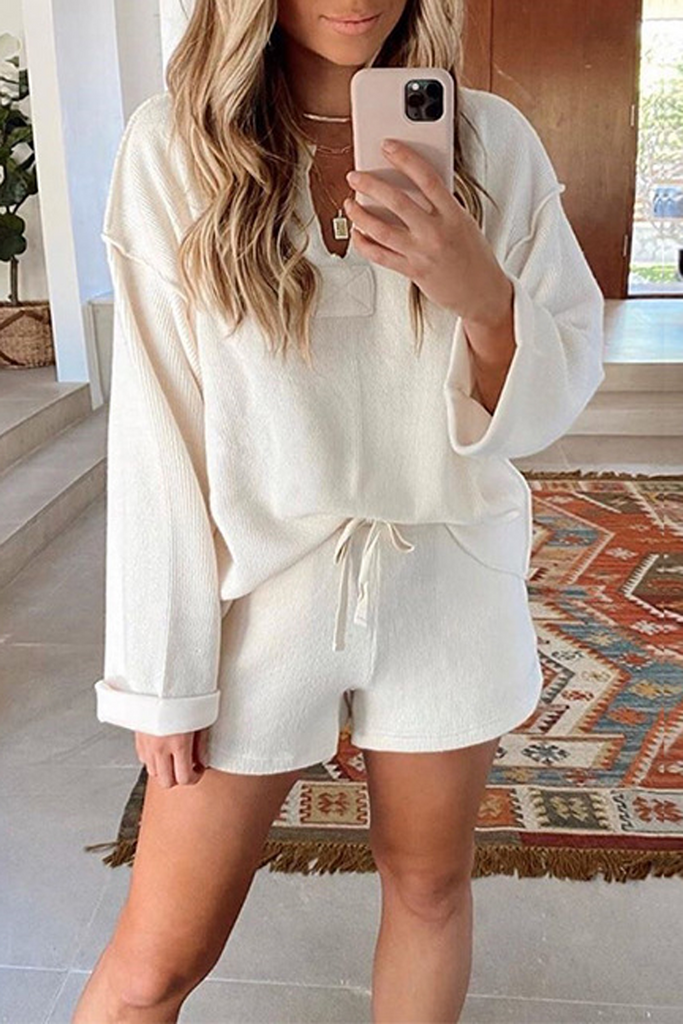 Knitted Solid V-Neck Top & Shorts