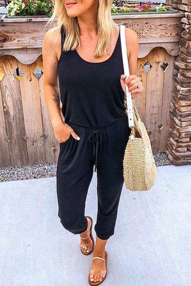 Sleeveless Drawstring Waist Solid Jumpsuit