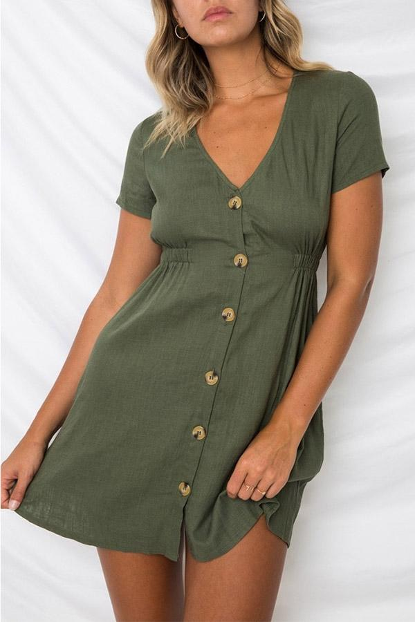 Solid Color Short Sleeve V Neck Button Dress