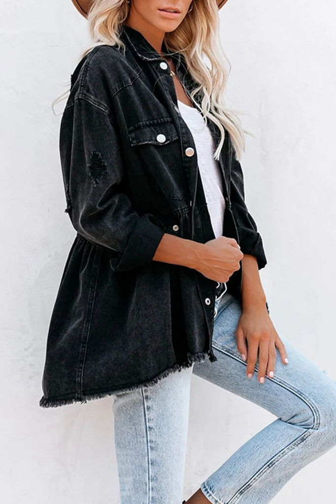 Elastic Waist Denim Jacket