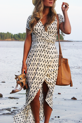 Geometry Printed V-neck Short Sleeve Maxi Dress