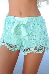 Lace Solid Color Casual Short