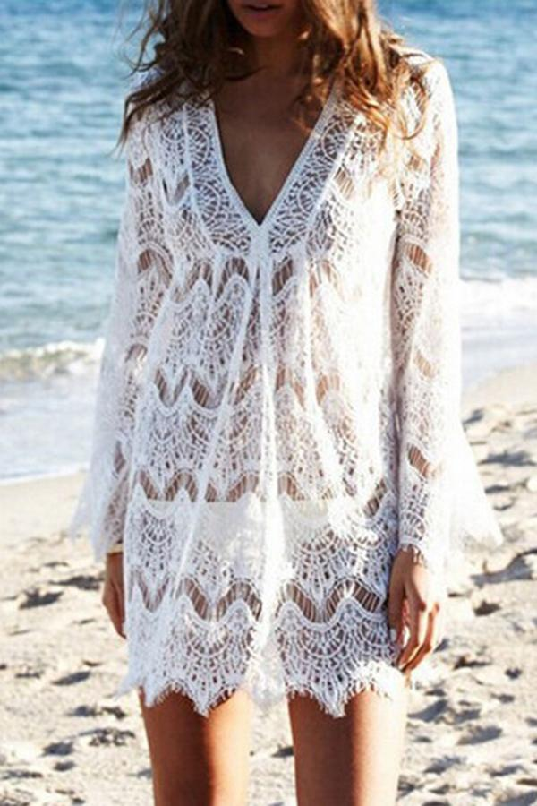 Lace V-neck Trumpet Sleeve Casual Cover Up