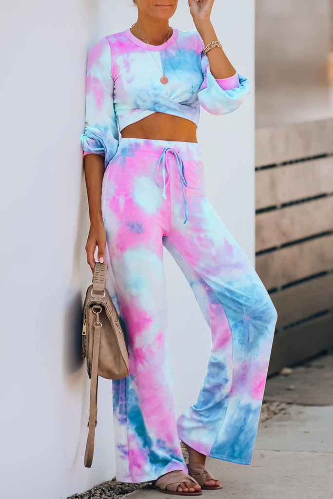 Tie Dye Drawstring Waist Two Pieces Sets