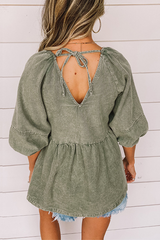 Denim Lantern Sleeve Open Back Top